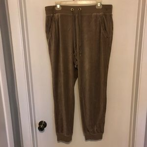 New York and Company Velour Jogger - Taupe XLarge